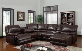 6pc reclining sectional sofa in brown bonded leather
