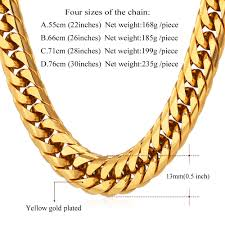 gold chunky necklace images Yellow gold plated thick stainless steel long big chunky necklace jpg