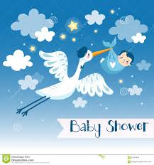 baby boy shower invitation card with stork stock illustration