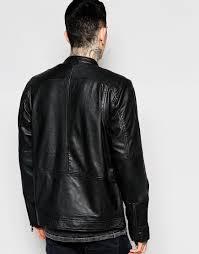 leather biker jacket lindbergh leather biker jacket in black for men lyst
