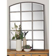 48 in x 36 in Arched Window Pane Inspired Mettalic Black