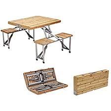 Folding Picnic Table To Bench Amazon Com Plixio Portable Folding Wooden Picnic Table With 4