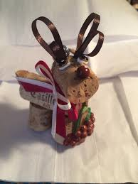 wine cork craft holiday christmas bottle toting wine cork reindeer
