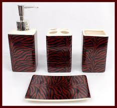 Red Bathroom Accessories Sets by 4 Pc Black Burgundy Zebra Ceramic Bathroom Set Soap Toothbrush