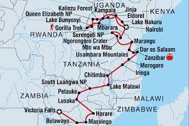 Malawi Map Gorillas To Vic Falls Tanzania Tours Intrepid Travel Us
