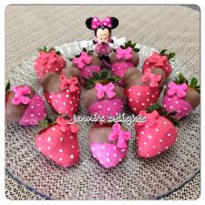 White Pink Chocolate Covered Strawberries Minnie Mouse Inspired Chocolate Covered Strawberries Great For