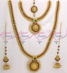 wedding earring necklace set images Br9041 full bridal temple jewellery set red green kemp stones JPG