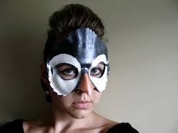 halloween costumes with masquerade masks penguin leather mask child or sizes available