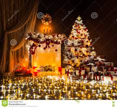 room christmas tree fireplace lights xmas home interior stock