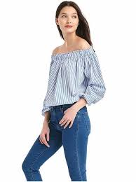 light blue top women s women s striped tops shirts blouses gap uk