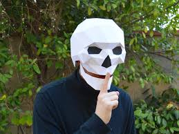 paper halloween mask skull mask with moving mouth low poly mask pattern uses just