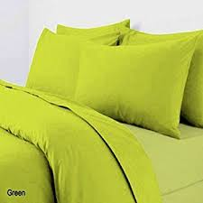 double bed duvet quilt cover bedding set lexie lime green plain