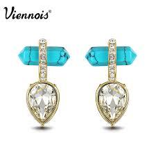 green stud earrings viennois bohemian geometric green stud earrings for women gold