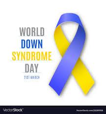 blue and yellow ribbon world day blue yellow ribbon sign vector image