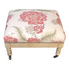 Floral Ottoman Vintage Used White Ottomans And Footstools Chairish
