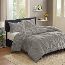 Blue Pintuck Comforter Bedroom Gray Pintuck Comforter With Gray Throw Pillows And Oak