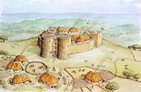 anglo norman high medieval castle illustration based on several