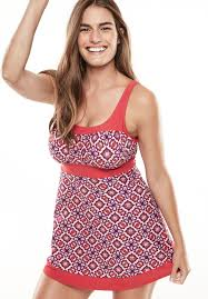 peasant fit and flare swimdress plus size swim dresses woman