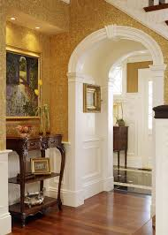 archway design entry victorian with paisley wallpaper details