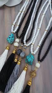 long beaded tassel necklace images Diy jewelry long black beaded tassel necklace with jade gemstone jpg