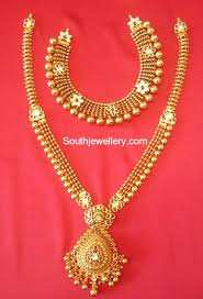 antique necklace chains images Antique necklace and long chain set jewellery designs jpg