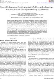 parental influence on social anxiety in children and adolescents