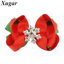 christmas gift bows 4 pieces lot 3 mini grosgrain ribbon hair bows for children