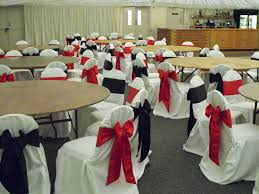 Black And White Chair Covers Alternative Black And Red Satin Bows On White Chair Covers