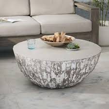 grey round coffee table concrete gray drum coffee table
