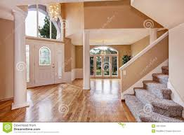 beautiful home entrance wood floor new luxury home interior stock