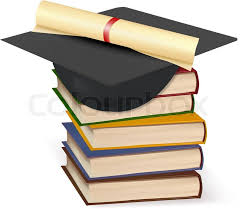 graduation books graduation cap and diploma laying on stacks of books vector