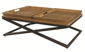 Metal Tray Coffee Table Four Irondale Jax Wood Metal Coffee Table W Trays