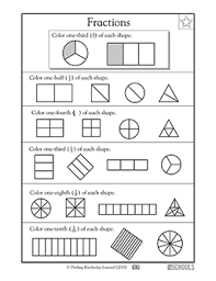 1st grade 2nd grade 3rd grade math worksheets shape fractions