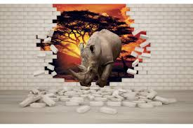 mural 3d effect brick wall and rhino wall mural 3d effect brick wall and rhino