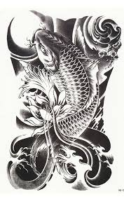 4 temporary tattoo 4 same sheets koi fish black rose