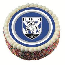 bulldog cake topper canterbury bulldogs nrl team logo colour edible icing image cake