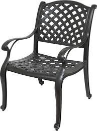 nevada cast aluminum outdoor patio dining chairs with sunbrella