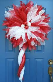 christmas flower wreathdeco mesh flower red and white