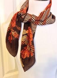 vintage shades of brown silk designer scarf by bill blass 27