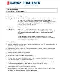 Commercial Real Estate Resume Real Estate Agent Job Description 94 Best Your Realtor For