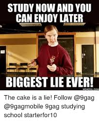 Biggest Internet Memes - study now and you can enjoy later biggest lie ever com the cake is