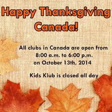 thanksgiving day hours for la fitness and klub in 2014 canada