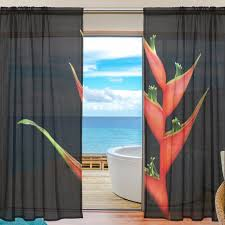 Sheer Door Curtains Sheer Door Curtain Panels W55x L78 Inch W55xl84 Inch Plant Red