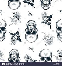 skull wrapping paper grunge seamless pattern with monochrome human skulls in woodcut