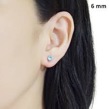 invisible earrings aquamarin swarovski invisible clip on stud earrings