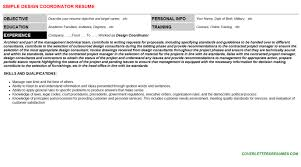 Resume Simple Design Design Coordinator Cover Letter U0026 Resume