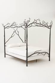 silver glaze carved wrought iron bed with 4 poles canopy in purple