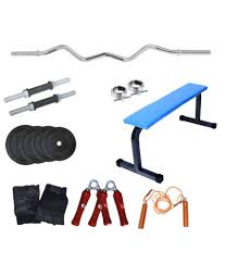fitfly home gym set with flat bench 5ft curl rod skipping