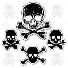 set of skulls with crossbones isolated white background royalty