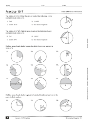 Area Of Sector Worksheet Practice 10 7 Areas Of Circles And Sectors 10th 12th Grade